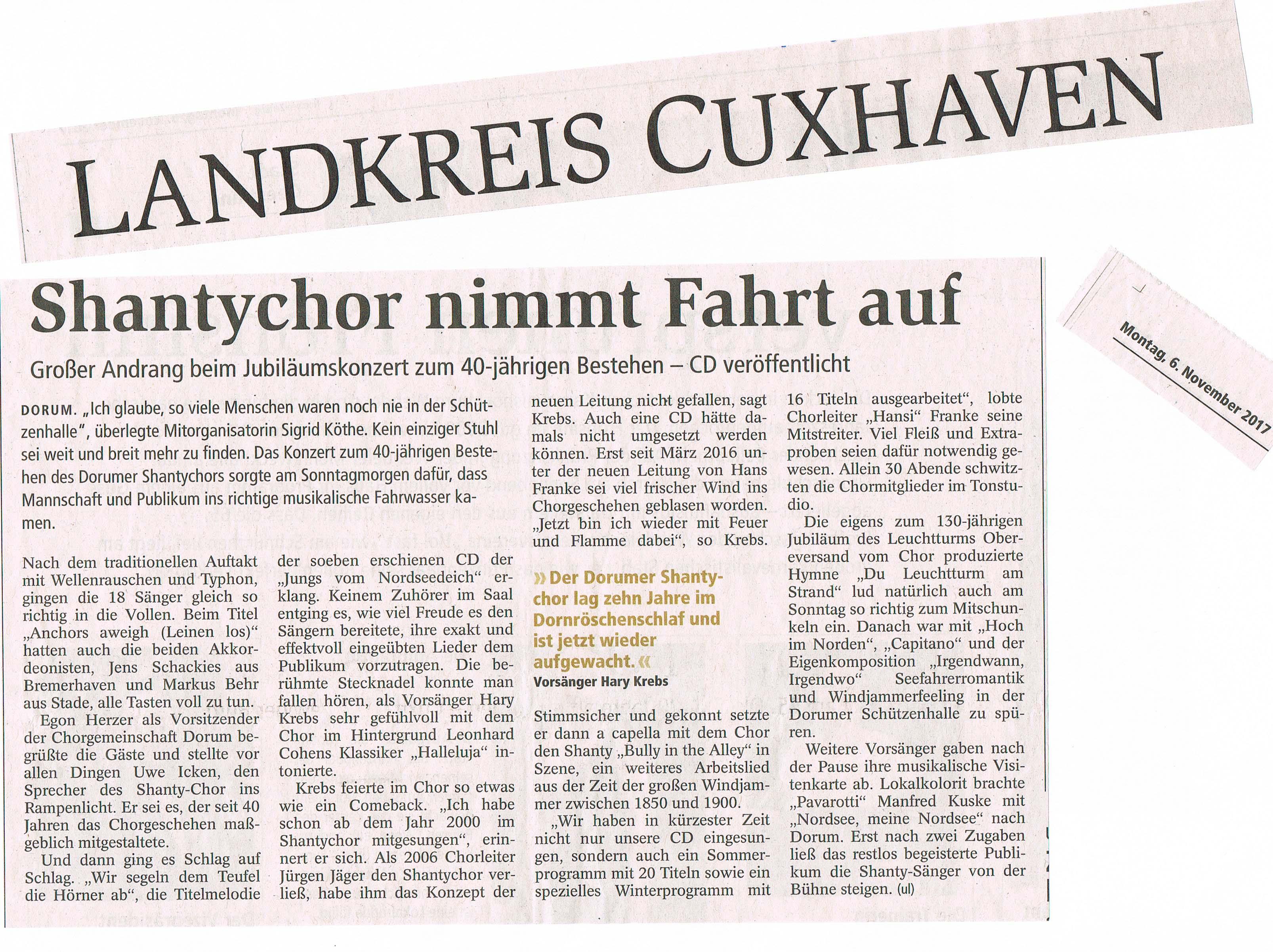 Presse 2 neu 40 Jahre Shantychor Dorum