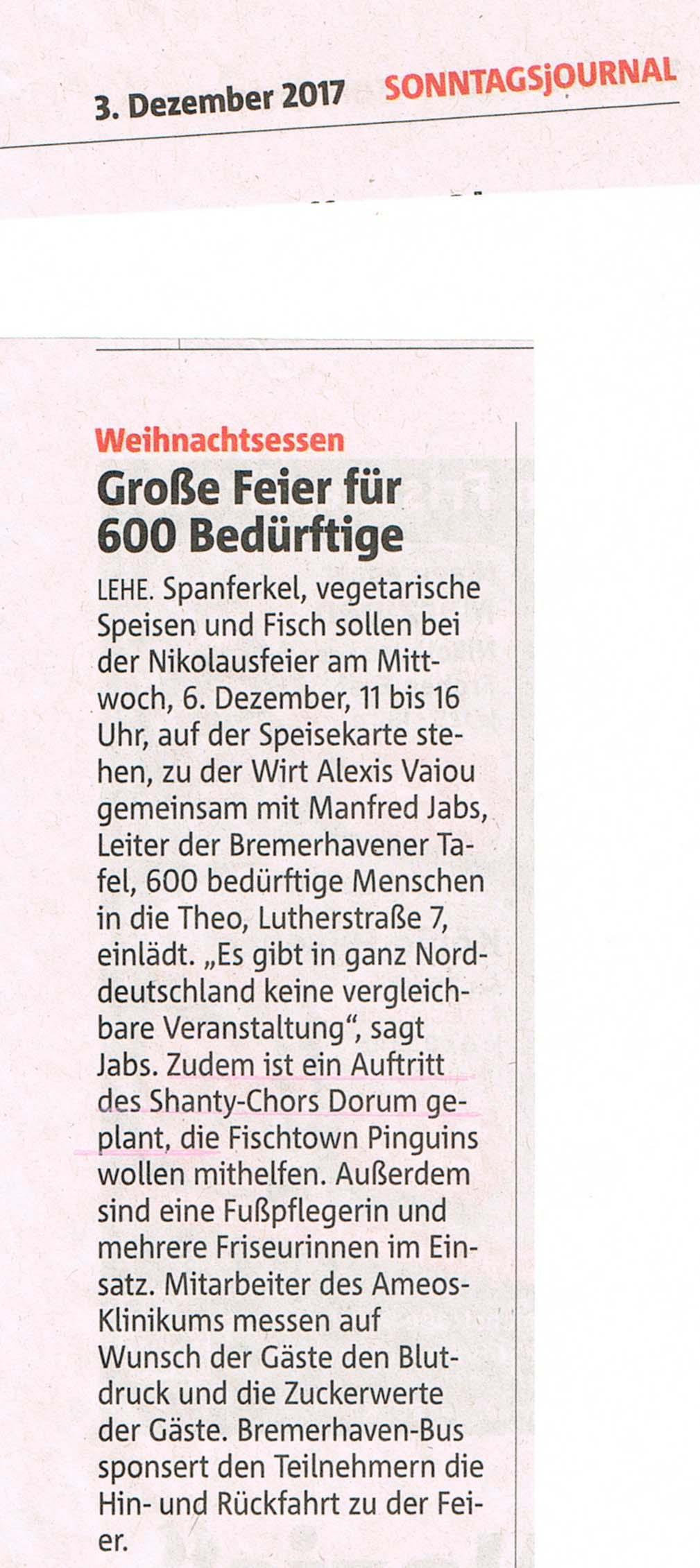 Presse 6 neu Grosse Feier f├╝r 600 Bed├╝rftige in Bremerhaven